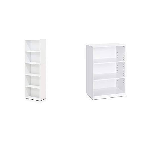 Furinno 5-Tier Reversible Color Open Shelf Bookcase , White & Jaya Simple Home 3-Tier Adjustable Shelf Bookcase, White