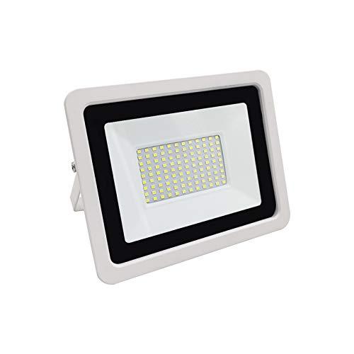 Miwatt 100W LED Ultra dünn Strahler Außen, 1500LM Superhell LED Fluter, IP68 Wasserdicht Außenstrahler Flutlicht, Flutlichtstrahler für Hof, Garage, Sportplatz(Kaltes Weiß)