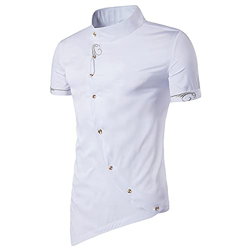 Camicia Uomo Traspirante Slim Fit Uomo Shirt Irregolare Moda Abbottonatura Manica Corta Uomo Shirt Casual Moderna Business Urbano Uomo Shirt Senza Colletto C-White M
