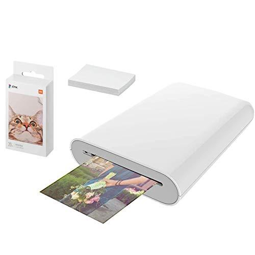 Bainuojia per Xiaomi Photo Printer, Stampante Fotografica Istantanea Portatile, w ZINK Tecnologia Zero Ink Printing, con 20 fogli 2  x 3  Print Paste Paper,compatibile IOS e Android
