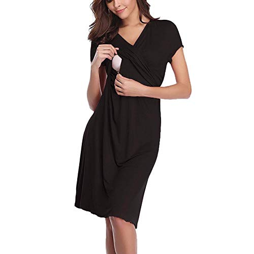 Iusun Women's Maternity Plus Size Dress Mom Nursing Short Sleeve Baby Breastfeeding Blouse Pregnants Nightdress Sundress Daily Wearing