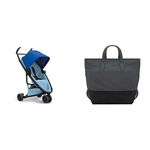 Quinny Zapp Flex Stylischer Komfort-Buggy, mit vielen Extras, leicht, kompakt faltbar, ab der Geburt nutzbar, blue on sky + Quinny Wickeltasche, Baby-tasche, Windel-tasche, grau