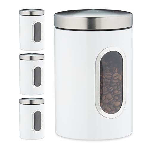 Relaxdays 4 x Vorratsdose, 1,4 L, mit Deckel und Sichtfenster, für Kaffee, Mehl, Pasta, Aufbewahrungsdose Küche, Metall, weiß