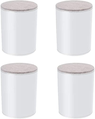 4 patas para muebles, patas de mesa de acero al carbono, cabezal de mesa redondo, patas de sofá de metal, silenciador, alfombrilla elevadora, para armario de cama (color: blanco, tamaño: 40 x 52 mm)