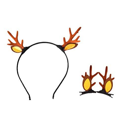 Cabilock 1Set Geweih Haarschmuck Braunes Geweih Haarband Haarspange Haarnadeln Festliche Kostüm Haar Requisiten für Party