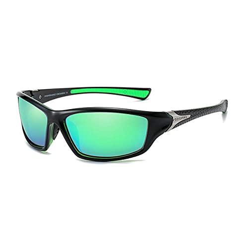 Gafas de sol para hombre Deportes ciclismo running Rectangular mujeres polarizadas gafas de sol hombre conducción golf béisbol gafas de espejo (verde)