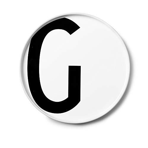 Design Letters Assiette Personnalisée en Blanc Porcelaine Fine de A-Z - G – Assiette Decorative, Idéal décorer, comme Cadeau Personnel, ou pour Les Repas, Compatible Lave-Vaisselle, D: 20cm