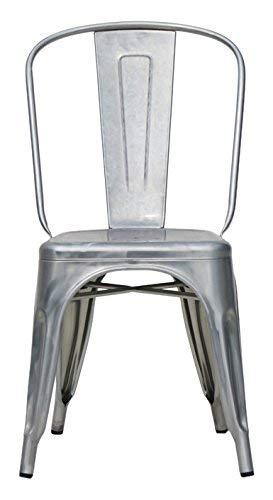 Eurosilla HKM001G-1 Silla Metalica apilable, Aluminio, Gris, 4