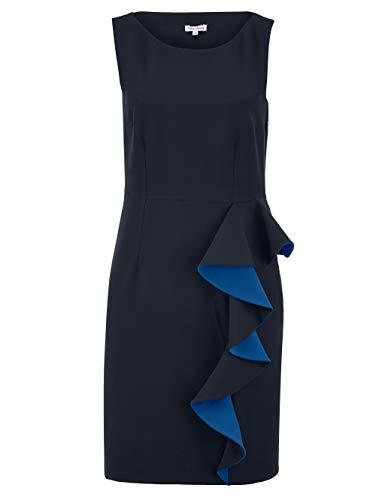 Alba Moda Kleid mit femininen Volants in Kontrastfarbe Marineblau