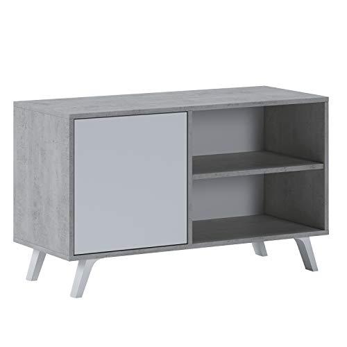 Mueble TV con Puerta Izquierda para Salón, Comedor, Modelo Wind, Color Estructura Cemento y Puerta Blanco Mate, Medidas: 95 cm (Ancho) x 40 cm (Fondo) x 57 cm (Alto)