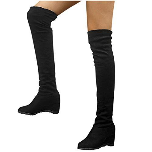 Overknee Stiefel Damen Sockenstiefel Winterstiefel mit Blockabsatz, Frauen Sockenstiefel High Heels Lang Boots Elegante Schuhe Bequem Winter Warme Damenschuhe Celucke (Schwarz, 38 EU)