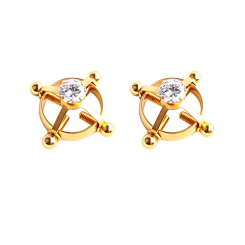 FENICAL 2pcs Non-Piercing Nipple Rings Body Piercing Rings Adjustable Nipplering Shield Rings Steel Shields Screw Body Piercing Circle Clamp (Golden)