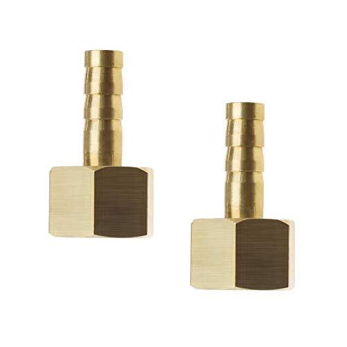 2 conectores hembra BSP de 6 mm a 1/4 pulgadas de rosca hembra de latón, conectores de conexión de manguera, acoplador adaptador de junta de púas, para combustible, aire, gas, agua, aceite