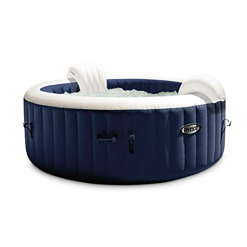 "Intex 28431E PureSpa Plus 85"" x 28"" 6 Person Outdoor Portable Inflatable Round Hot Tub Spa with 170 Bubble Jets, Cover, LED Light, & Heater Pump, Navy"