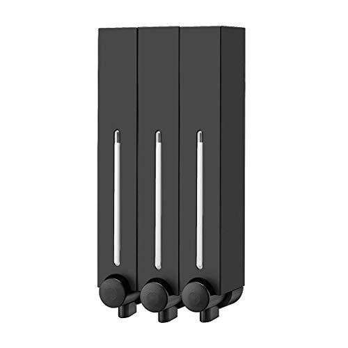 Soap Dispensers Square Refillable Wall-Mount Shampoo and Conditioner Lotion Shower (Color : Matt Black, Size : Triple)