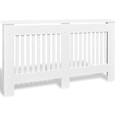 Festnight MDF Radiator Cover Heating Cabinet with a Matte Finish Living Room Furniture Decor White