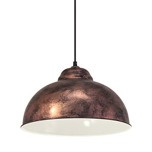 Eglo Lustre Truro 2, Suspension à Flamme au design Industriel, Lampe Pendante Rétro en Acier, Couleur : Cuivre Ancien, Douille : E27