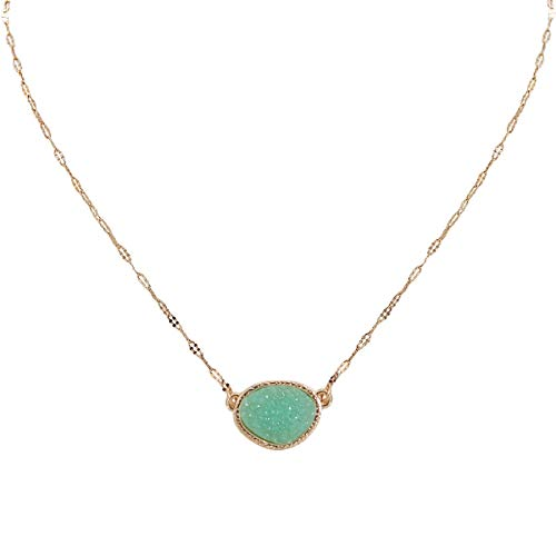 Humble Chic Simulated Druzy Delicate Necklace for Women - Gold-Tone Dainty Chain-Link...