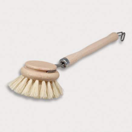 2 x HOFMEISTER® diskborste i trä, 24 cm, stort 5,3 cm borsthuvud för byte, bra sköljresultat tack vare stabila fiberborst, värmebeständig tvättborste av bok, tillverkad i EU