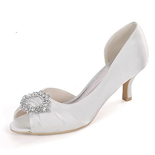 Mujer Verano Punta Abierta Tacón bajo Sandalias Elegante Diamante Satén Zapatos de...