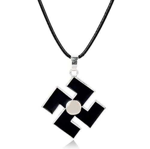 Preisvergleich Produktbild zbzmm Halskette Anime Bleach Kurosaki Ichigo Metall Halskette Schwarz Emaille Anhänger Seil Kette Halskette Für Männer Frauen Cosplay Zubehör