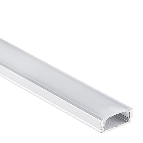 LED Anser Aluminium Profil 10 Meter LED Profil (5 * 2 Meter) für LED Streifen & LED Bänder + Abdeckung Opal (milchige Abdeckung) LED Aluprofil