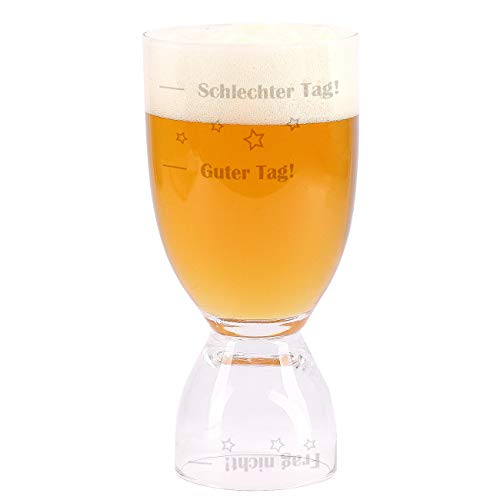 Herz & Heim® Bierglas und Schnapsglas 2in1 - Guter Tag - Schlechter Tag - Frag nicht! - das ultimative Stimmungsglas perfektes Männergeschenk