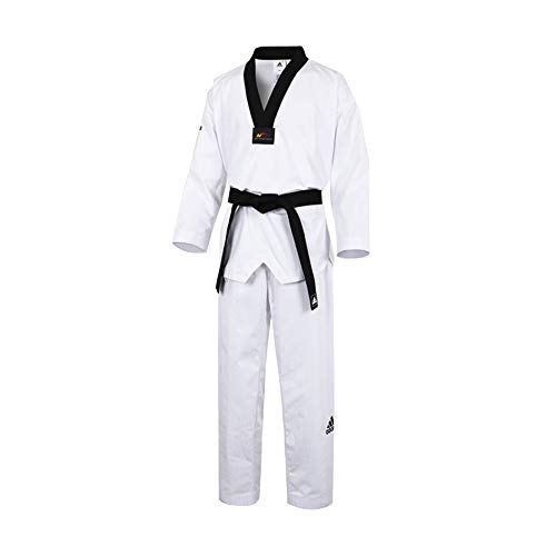 Adidas Adichampion II - Dobok de taekwondo, color negro, wtf, Niños Mujer Niñas, color blanco, tamaño 34