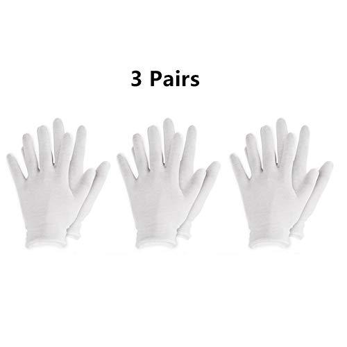 Gants réutilisables en Coton Blanc Gants Souples élastiques Minces pour la Main sèche hydratant l'eczéma cosmétique Hand Spa Coin Bijoux Inspection - 3 Paires