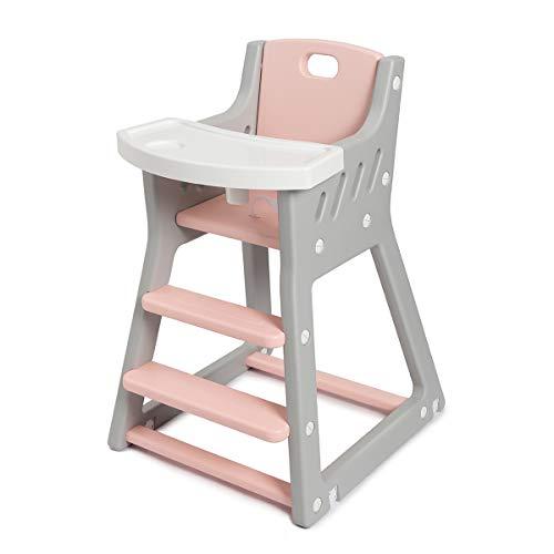Hochstuhl für Babys, Waschbar Babyhochstuhl Kinderhochstuhl, mit abnehmbarem Tablett, Sicherheitsgurt und Hohe Rückenlehne, ab 6 Monaten bis 36 Monaten, Grau-Rosa