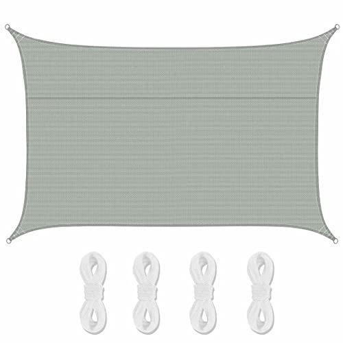 Sonnensegel Sonnenschutz Wasserdicht, 95% UV Schutz Rechteck Segel für Garten, Terrasse und Balkon, Polyester Oxford-Stoff Schattensegel mit Spannseilen