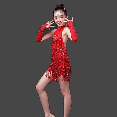 kekafu Wir Latin Dance Kleider Kinder- Leistung Milch Fibre Paillettes 3 Stück hohe Sleeveless Kleid, Handschuhe, Rot, M