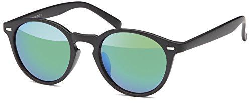 Balinco Runde Vintage Sonnenbrille im angesagten Unisex Rund für Herren & Damen - Retro Brille (Schwarz-Ice)