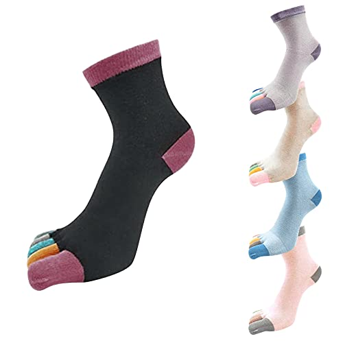 5 Stück Sommersocken Zehensocken Spleißen Baumwollsocken All-Match Fünf-Finger-Kurzsocken Laufen Socken mit Zehen Einzeln Atmungsfähig Zehensocken Arbeit Sports