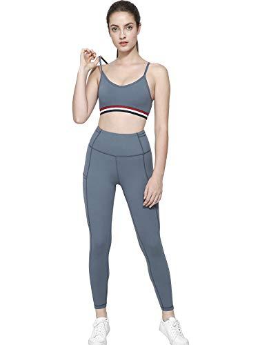 BOTRE 2 Pezzi Tuta da Ginnastica a Vita Alta Pantaloni da Yoga con Reggiseno Sportivo per Gym Jogging Tennis Tute da Donna (Blu, S)