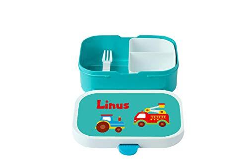 wolga-kreativ Brotdose Traktor Feuerwehrauto mit Namen türkis Rosti Mepal Obsteinsatz für Jungen Lunchbox Bento Box personalisiert Brotbüchse Brotdosen Kindergarten Schule