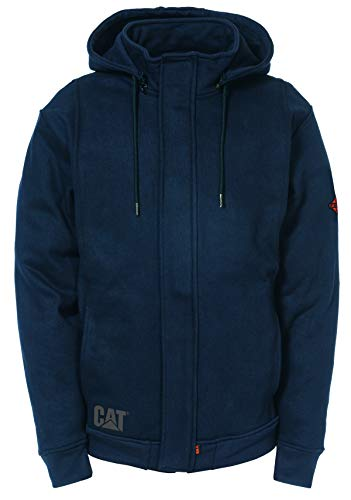 Caterpillar Men's Sweatshirt with Removeable Hood (Regular and Big and Tall Sizes), Flame Resistant Navy, Medium