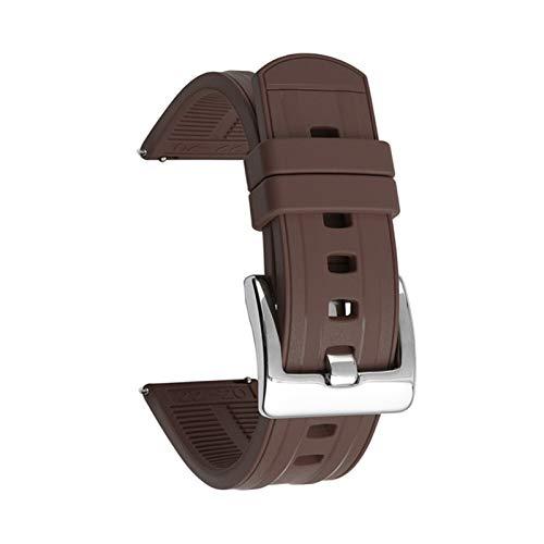 WNFYES Strap de Banda de Reloj de Silicona de 22 mm Accesorios de Pulsera de liberación rápida Correa de Silicona (Band Color : Brown, Band Width : 22mm)
