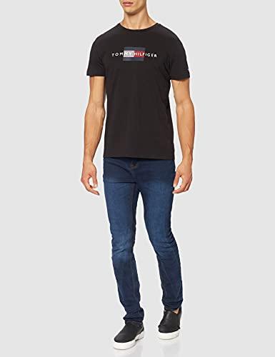 Tommy Hilfiger Lines Hilfiger tee Camiseta, Negro, L para Hombre