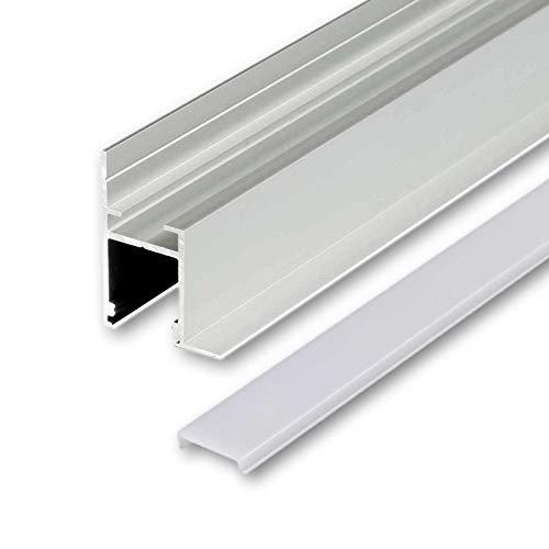 QUSA Perfil de aluminio LED anodizado   L – 2 m x B – 1,64 cm x H – 2,27 cm   Canal de aluminio para tiras LED + cubierta acrílica blanco lechoso