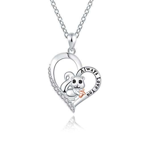 Cute Animal Squirrel Pendant Necklace Sterling Silver Lovely Animal Heart Jewelry Birthday Graduation Christmas Valentine