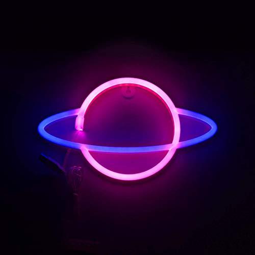 Planeta Neón Luz , Planeta LED Letreros Pared Decoración, Batería O USB Accionable Planeta Lámpara Azul/Rosa/Blanco Letreros Iluminación para Hogar, Habitación Infantil, Barra, Festivo Decoración