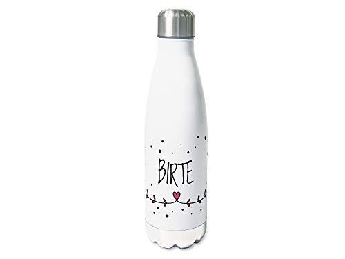 GRAZDesign Trinkflasche personalisiert 0,5 l, persönliche Flasche Edelstahl, Thermosflasche mit Namen, zarte Herzchen, Kinder/Erwachsene