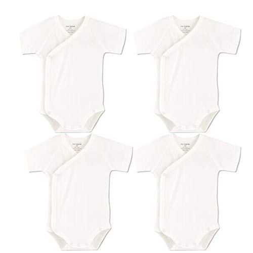 Baby Boys Girls Short Sleeves Kimono Onsies Cotton Baby Side-Button Bodysuit Pack of Cardigan Onsies for Infants (Newborn)