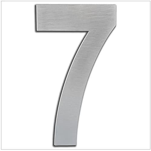 Numero de Casa Exterior, Portal o Garaje, 20 cm, Acero Inoxidable AISI 304, Instalación Adhesiva Numero 7