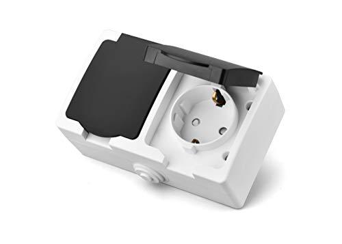 IP44 2-fach Steckdose Aufputz,250v/16A Schuko Steckdose für Feuchtraum und Draussen,Erhöhtem Berührungsschutz,waagerecht Anordnung