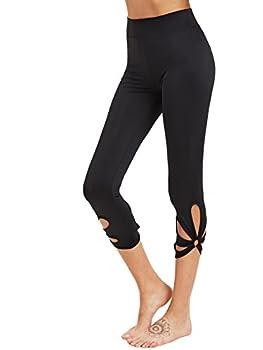 SweatyRocks Women s Mesh Panel Capri Leggings Workout Yoga Running Crop Pants  Medium Black#8