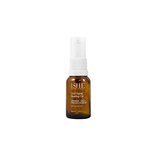 om SHE Aromatherapy Anti-Aging Rosehip Oil made with organic ingredients and Vitamin E 15ml