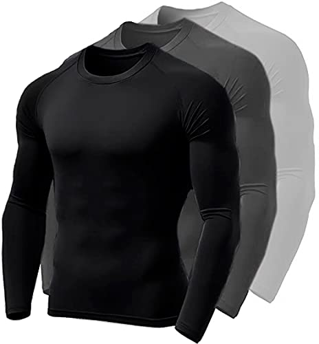 Kit 3 Camisetas Térmica Polo Sport Segunda Pele Uv Unissex Branco/Cinza e Preto (GG)