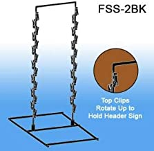 Free Standing Metal Snack Rack - Black -2 Wand, 28 Hooks   Clip Strip Model FSS-2BK   Retail Display Rack Black Metal Provision for Signs